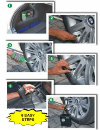 Autógumi defektjavító készlet